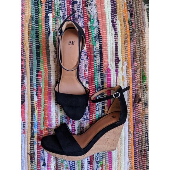 H\u0026M Shoes   Hm Black Strap Cork Wedges